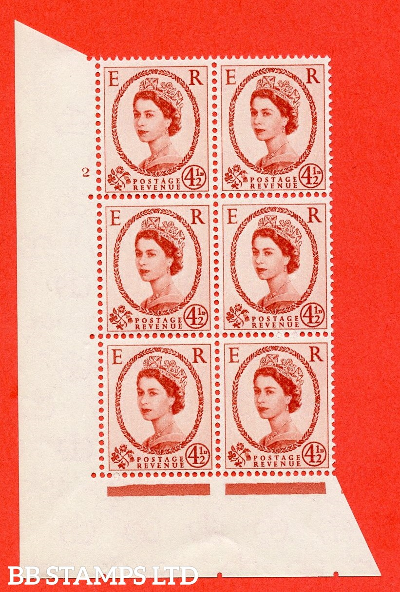 "SG. 577 S93. 4d½ chestnut  A superb UNMOUNTED MINT "" cylinder 2 no dot "" control block of 6 with perf type A (E/I)."
