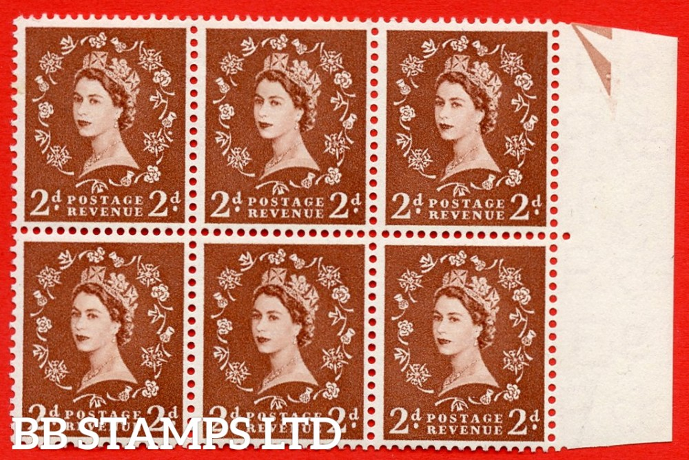 SG. 543b. S38q. 2d. Light Red-brown. A superb UNMOUNTED MINT example from cylinder 14 no dot. Right marginal positional Block of 6. With a White spot by right thistel ERROR R.11/10