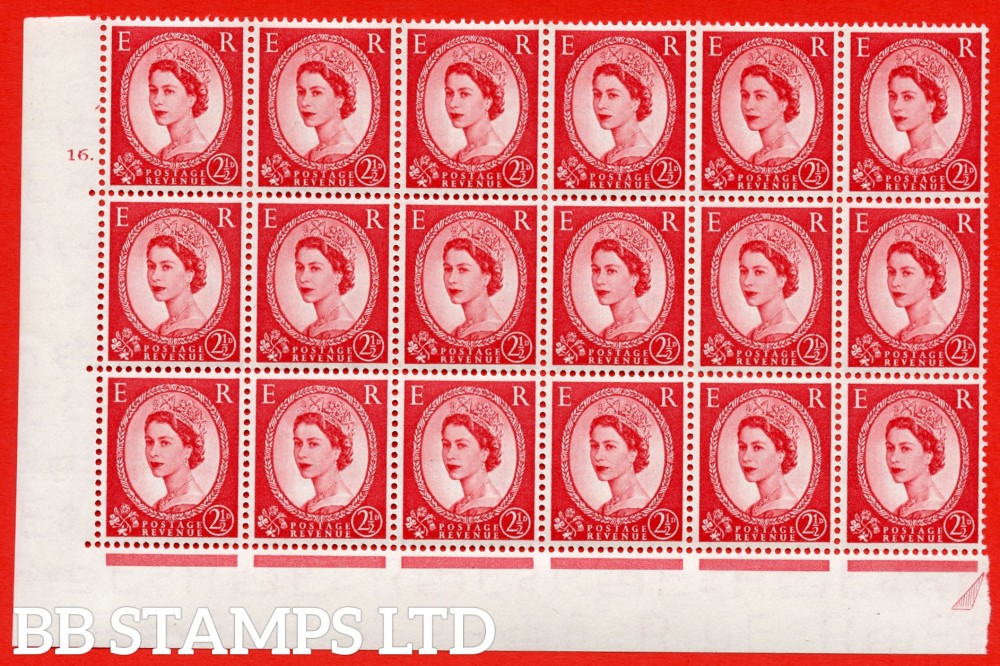 "SG. 519. S50c. 2½d Carmine Red. A superb UNMOUNTED MINT "" cylinder 16 dot "" Positional block of 18. Variety Extended broken top of diadem (cyl.16 Dot, R.20/5)"