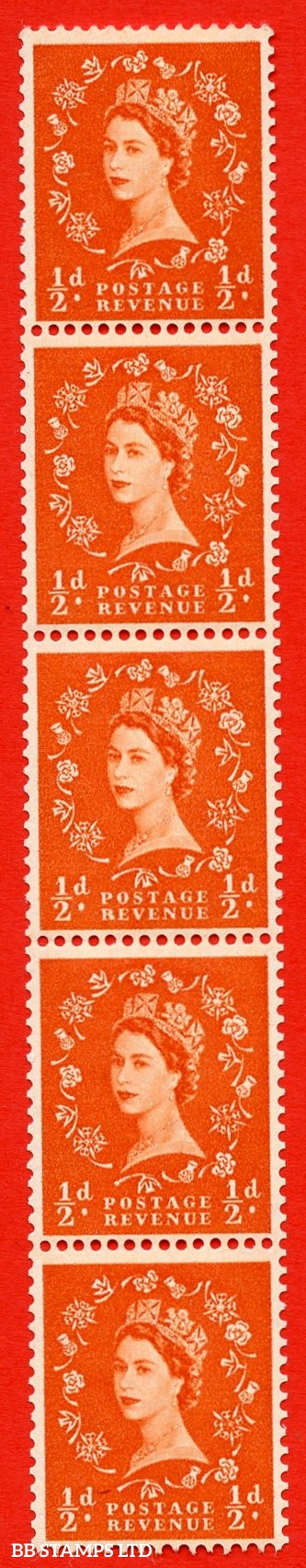 "SG. 570. S4n. ½d Orange. A superb MOUNTED MINT example. Coil strip of 5. Cream paper. With a ""R"" flaw ERROR. Roll 11 variety."
