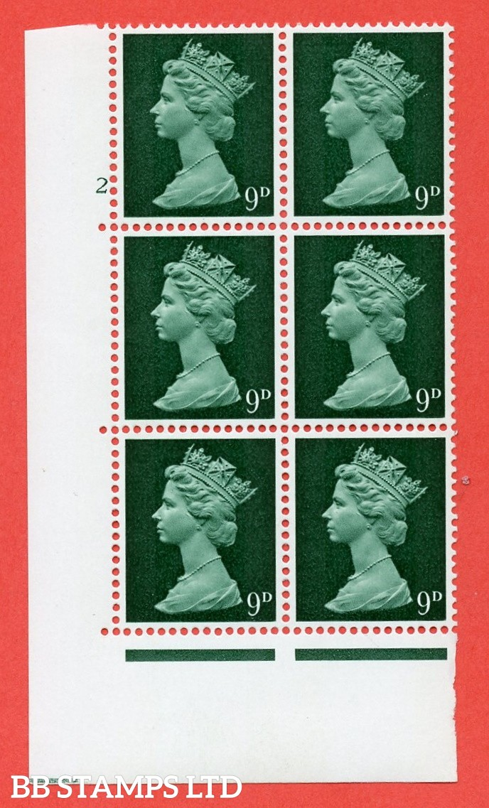 "SG. 740v. U23. 9d myrtle green  A superb UNMOUNTED MINT "" cylinder 2 dot "" control block of 6 with perf type A E/I. PVA gum. Head A"