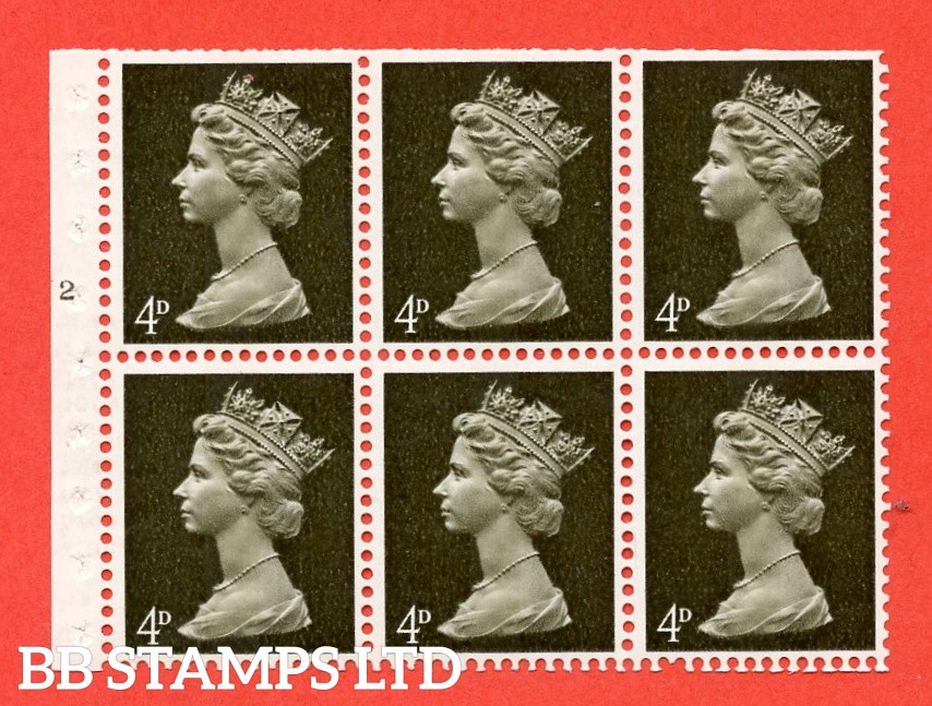 UB11 4d Centre Band. UNMOUNTED MINT Complete Pre decimal machin Cylinder Pane of 6 N2T No Dot . (UB11) Perf Type IS. Trimmed Perfs.