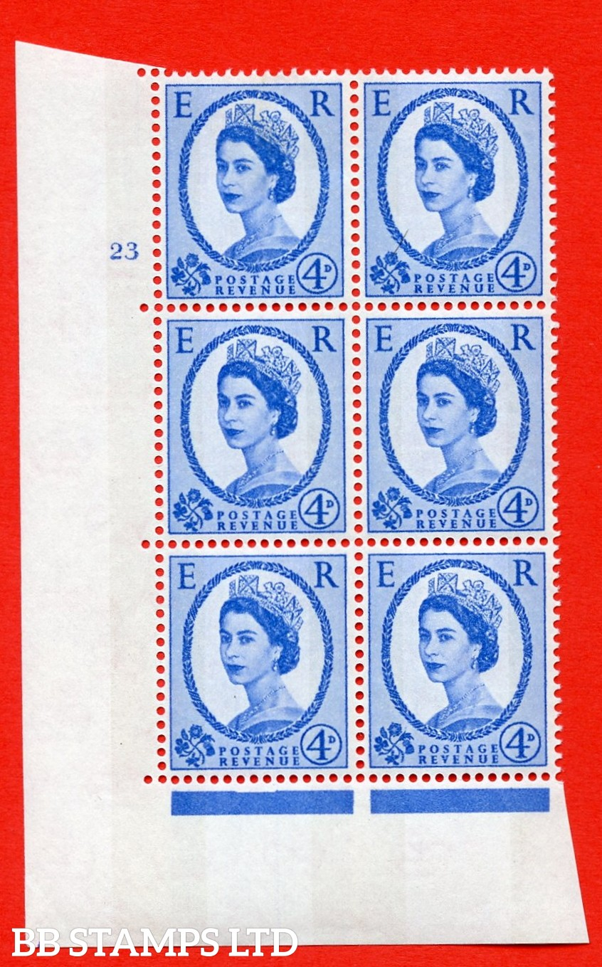 "SG.616a. S92. 4d Deep Ultramarine. A superb UNMOUNTED MINT "" cylinder 23 no dot "" control block of 6 with perf type A (E/I). violet Phosphor 9½mm Band."
