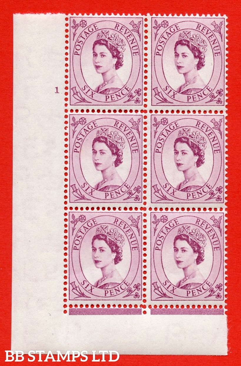 "SG. 523. S104. 6d Purple. A superb UNMOUNTED MINT "" cylinder 1 dot "" control block of 6 with perf type FL I/E."