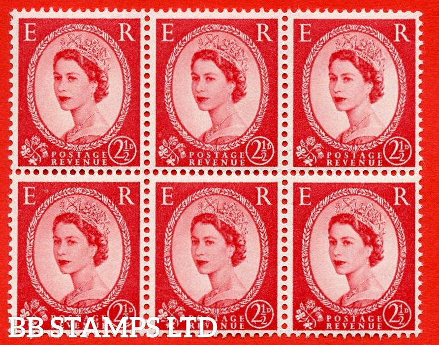 "SG. 544. S52c. 2½d. Carmine - Red. A superb UNMOUNTED MINT example from cylinder 30 dot block of 6. With a ""B"" for ""D"" in the value ERROR R.9/11 variety."