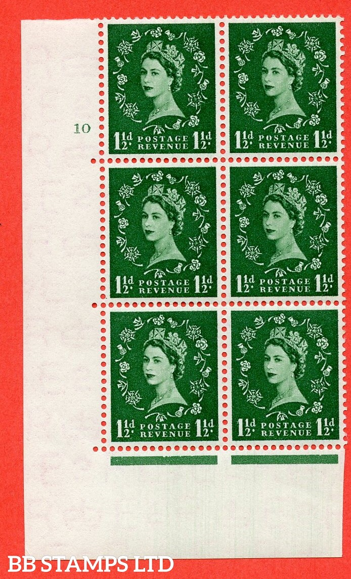 "SG. 517. S25. 1½d Green. A fine lightly mounted mint "" cylinder 10 dot "" control block of 6 with perf type A E/I."