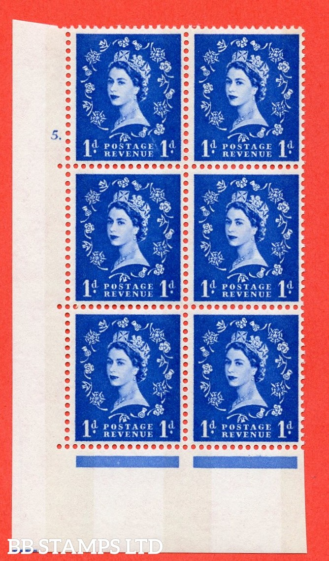 "SG.611. S23b. 1d Ultramarine. Photo. A fine mounted mint "" cylinder 5 dot "" control block of 6 with perf type A (E/I). violet Phosphor 8mm Band."