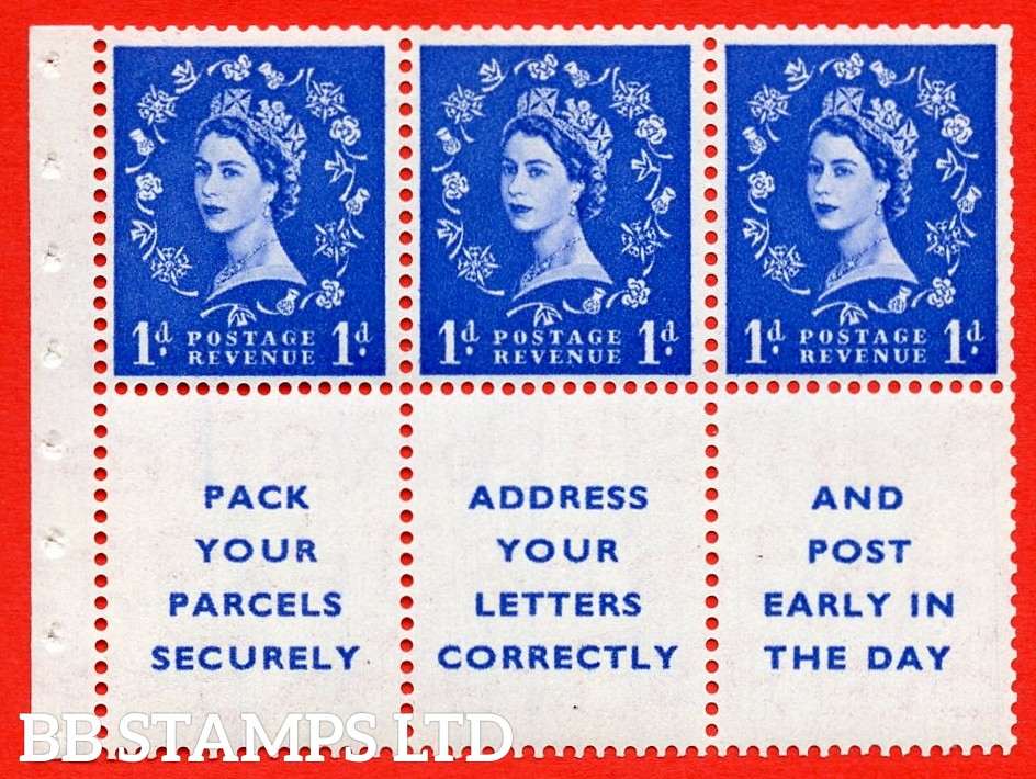 SG. 516La. SB25. 1d ultramarine. A fine UNMOUNTED MINT Complete booklet pane of 6. Perf type (IS) with Trimmed PERFS.