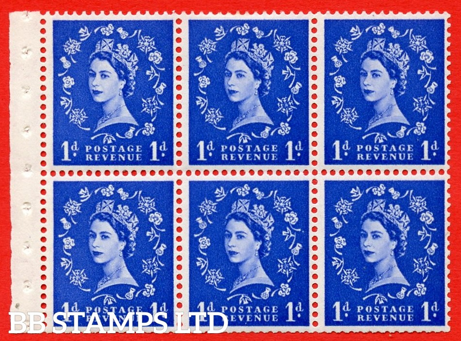 SG. 516. SB20b. 1d ultramarine. A fine MOUNTED MINT example. Complete booklet pane of 6. With a hair flaw ERROR. R.1/1 variety. Trimmed perfs.