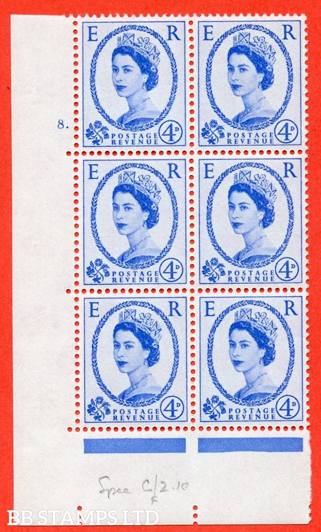 "SG. 576. S84. 4d Ultramarine. A superb UNMOUNTED MINT "" cylinder 8 dot "" control block of 6 with perf type A E/I. WHITE paper."
