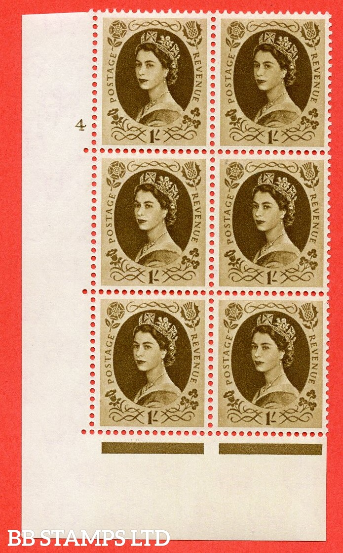 """SG S138. 1/ Bistre Brown  A superb UNMOUNTED MINT """" cylinder 4 no dot """" control block of 6 with perf type A (E/I)."""