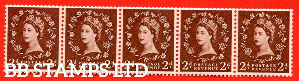 "SG. 543a. S37L. 2d. Red-brown. A superb UNMOUNTED MINT example. Coil strip of 5. WATERMARK sideways left. With a Extra leg to ""R"". ERROR. Coil roll 2 variety."