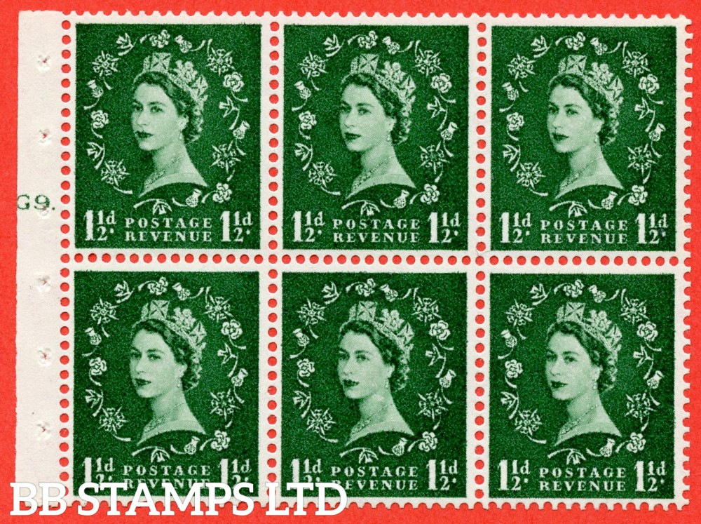 "SG. 542. SB62. 1½d green. A superb UNMOUNTED MINT cylinder "" G9 T dot "" booklet pane of 6. Perf type (Ieb) with GOOD PERFS. Smooth edge."