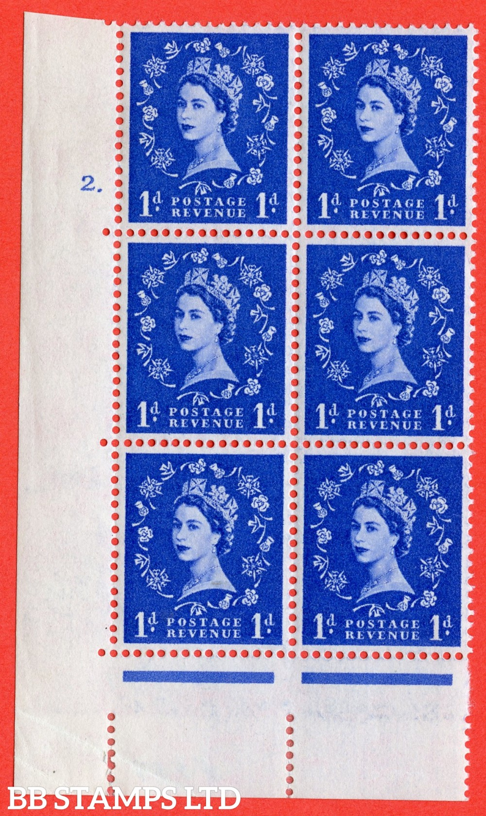 "SG. 541. S14. 1d. Ultramarine. A fine lightly mounted mint "" cylinder 2 dot "" control block of 6 with perf type A E/I"