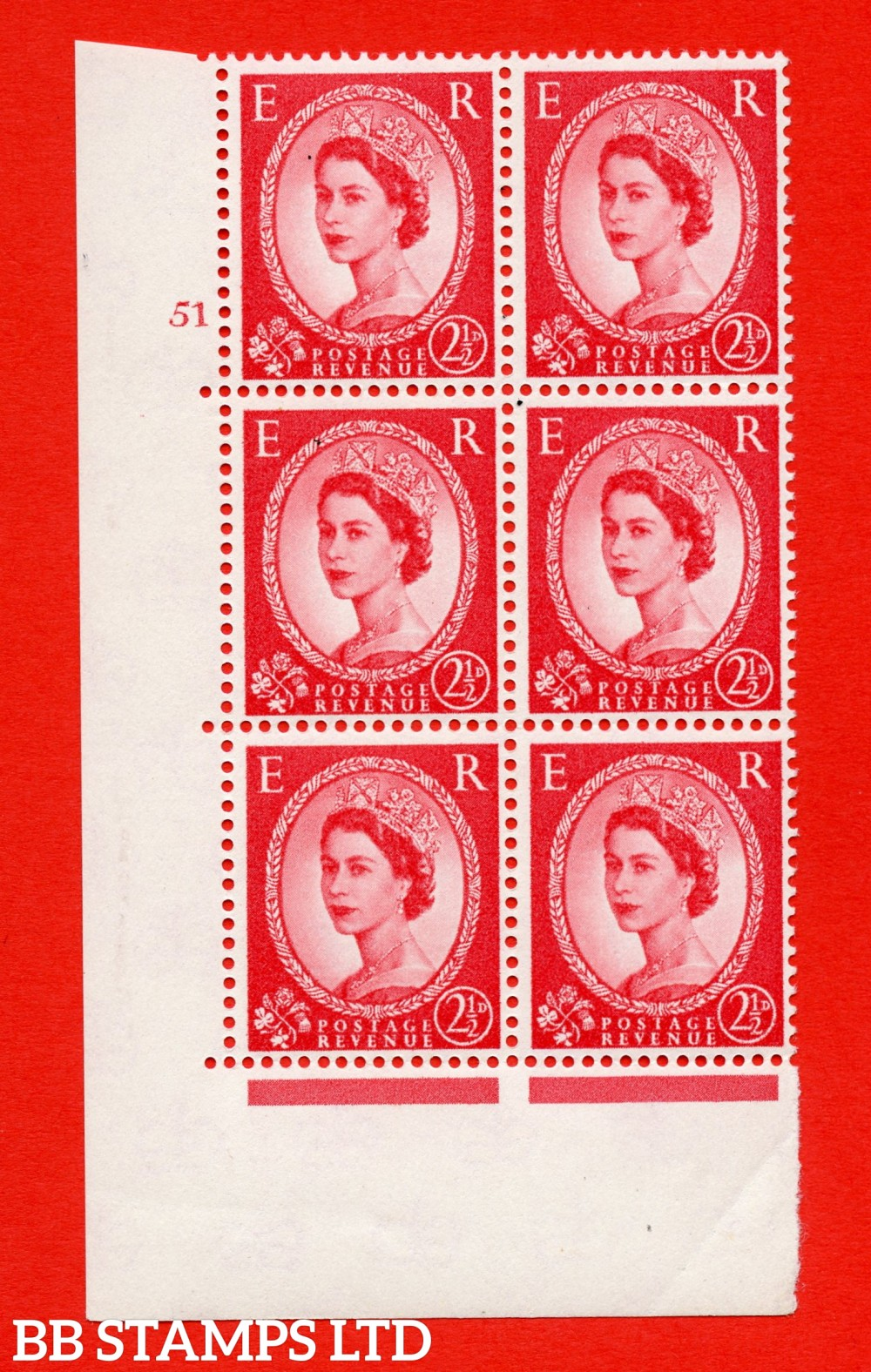 "SG. 574. S55. 2½d Carmine - red.Type II. A superb UNMOUNTED MINT "" cylinder 51 no dot "" control block of 6 with perf type A E/I. CREAM paper."