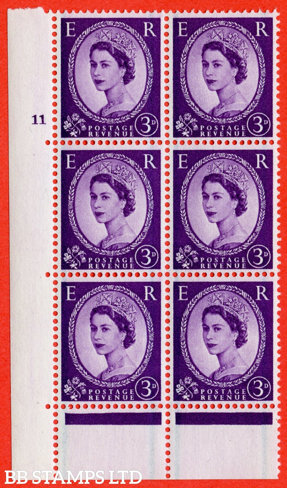 "SG. 592. S72. 3d Deep lilac. A superb UNMOUNTED MINT"" cylinder 11 no dot "" control block of 6 with perf type C E/P."