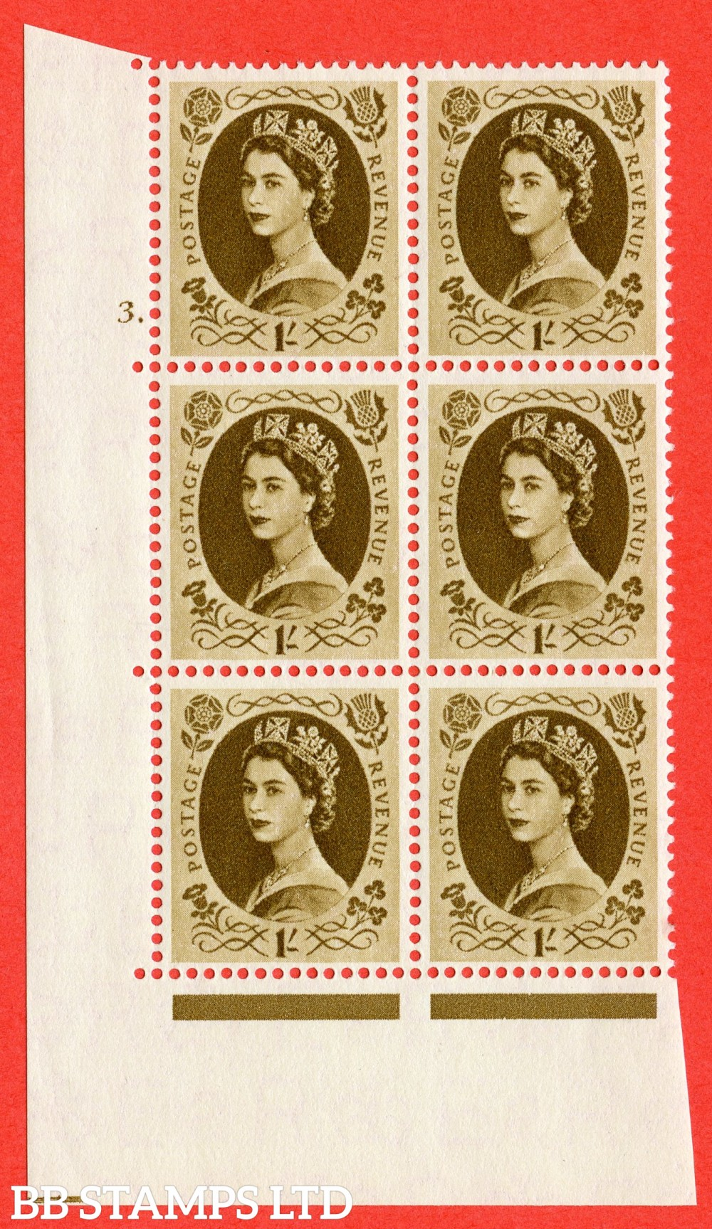 "SG. 557. S137. 1/- Bistre - brown. A superb UNMOUNTED MINT "" cylinder 3 dot "" control block of 6 with perf type A E/I."