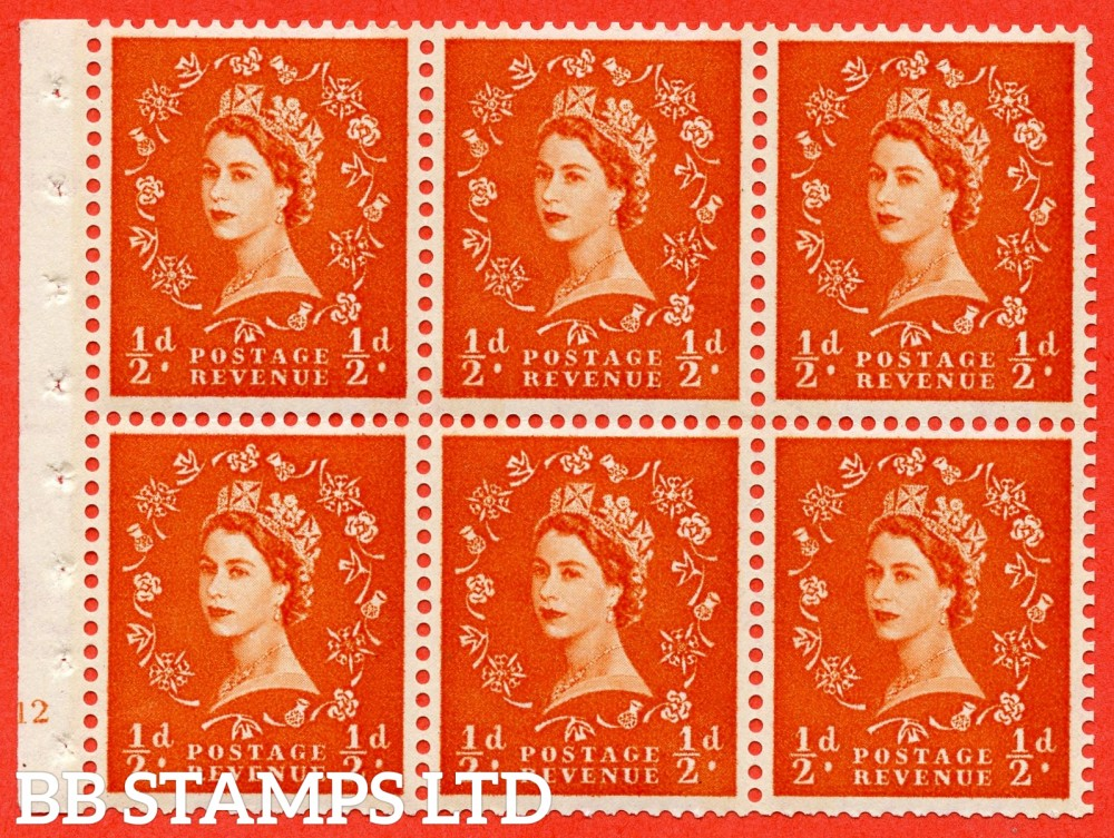 "SG. 610. SB16. ½d Orange Red. A fine UNMOUNTED MINT cylinder "" E12 no dot "" booklet pane of 6. Perf type (I) with GOOD PERFS. Smooth edge. Cream Paper."