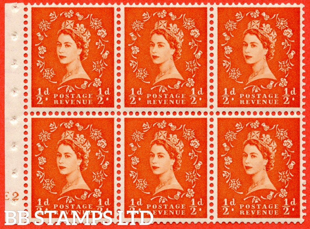 "SG. 515. SB1. ½d orange - red. A fine UNMOUNTED MINT cylinder "" E2 dot "" booklet pane of 6. Perf type (Ieb) with GOOD PERFS. Smooth edge."