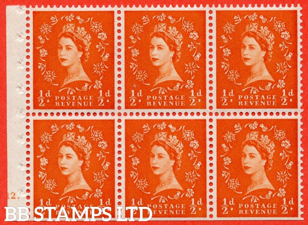 "SG. 610. SB17. ½d Orange Red. A fine UNMOUNTED MINT cylinder "" E12 dot "" booklet pane of 6. Perf type (Ieb) with TRIMMED PERFS. Smooth edge. White Paper."