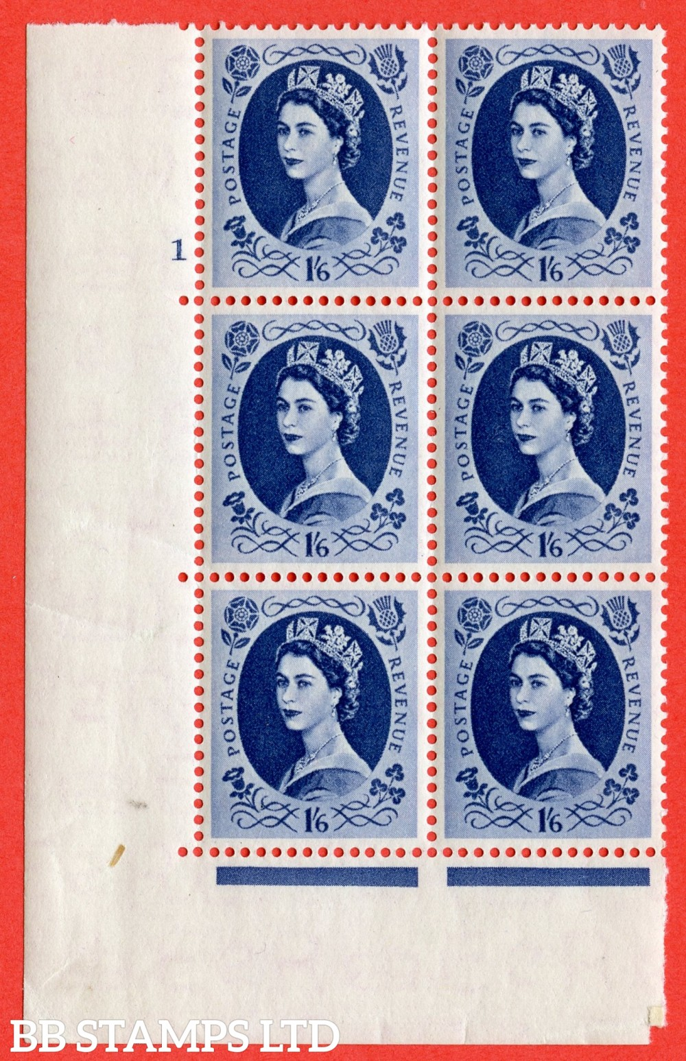 "SG. 531. S150. 1s.6d. Grey-blue. A superb UNMOUNTED MINT "" cylinder 1 no dot "" control block of 6 with perf type A E/I."