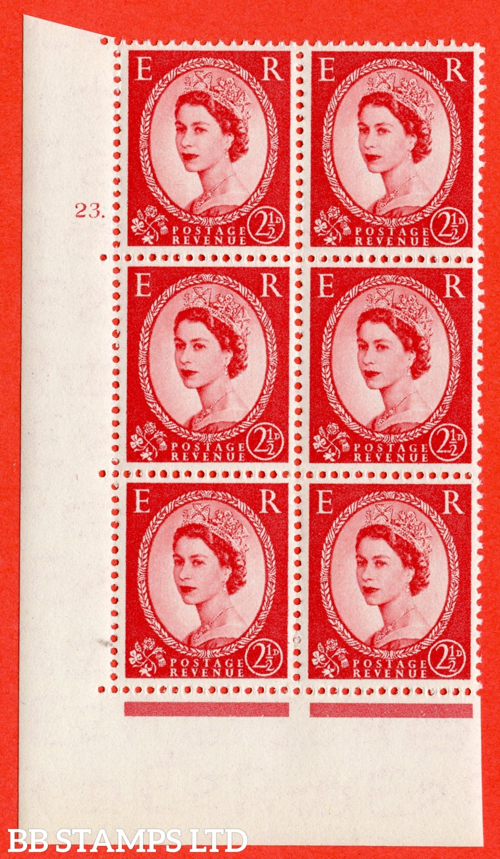 "SG. 519. S50. 2½d Carmine Red. A superb UNMOUNTED MINT "" cylinder 23 dot "" control block of 6 with perf type A E/I."