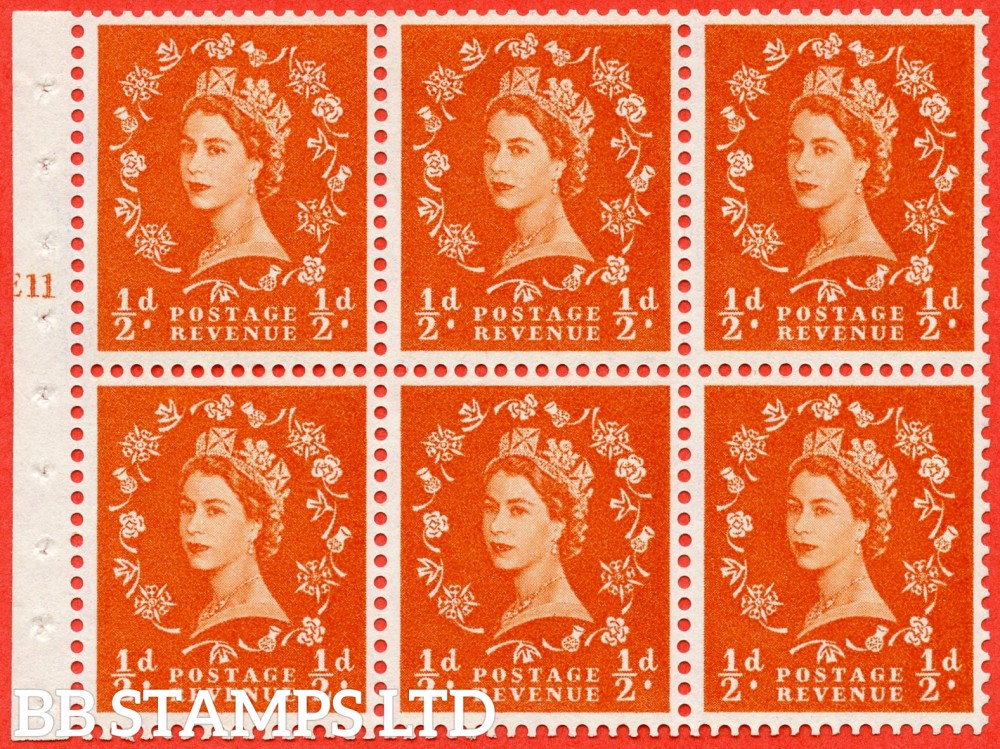 "SG. 570. SB7. ½d orange - red. A fine mounted mint cylinder "" E11 T no dot "" booklet pane of 6. Perf type (I) with TRIMMED PERFS. Smooth edge. Cream paper."