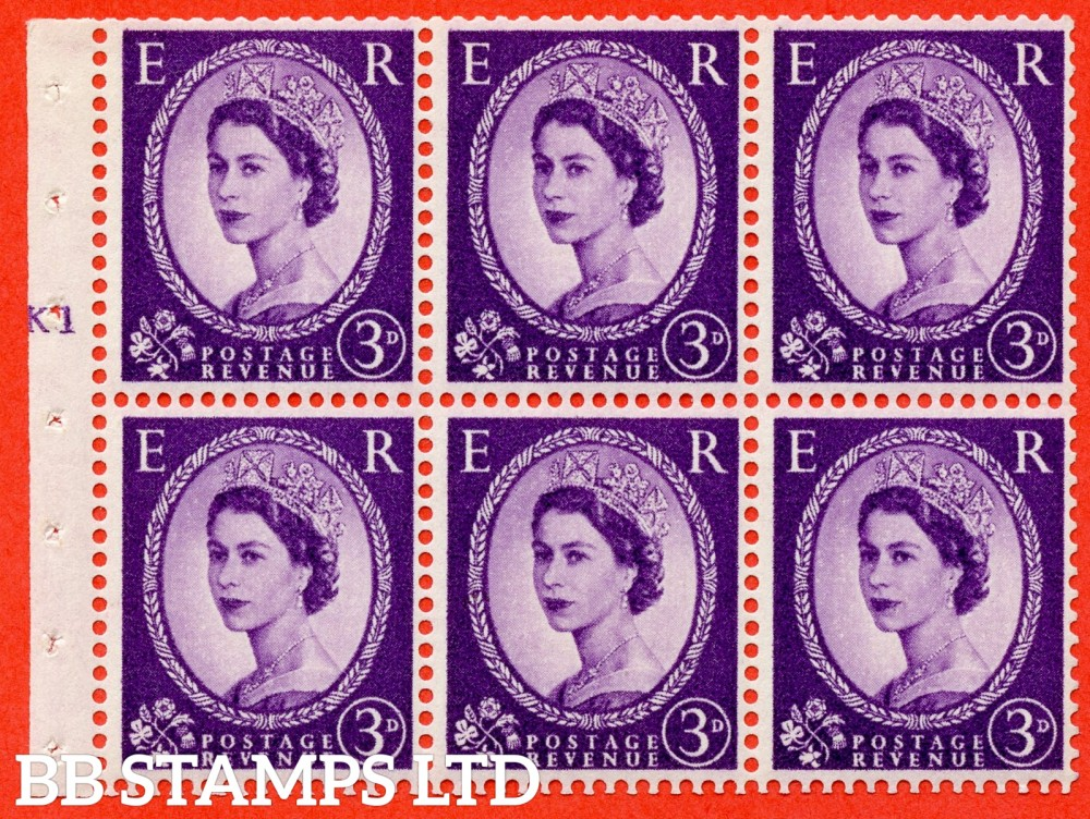 "SG. 545. SB90. 3d Deep Lilac. A fine UNMOUNTED MINT cylinder "" K1 T no dot "" booklet pane of 6. Perf type (I) with GOOD PERFS. Smooth edge."