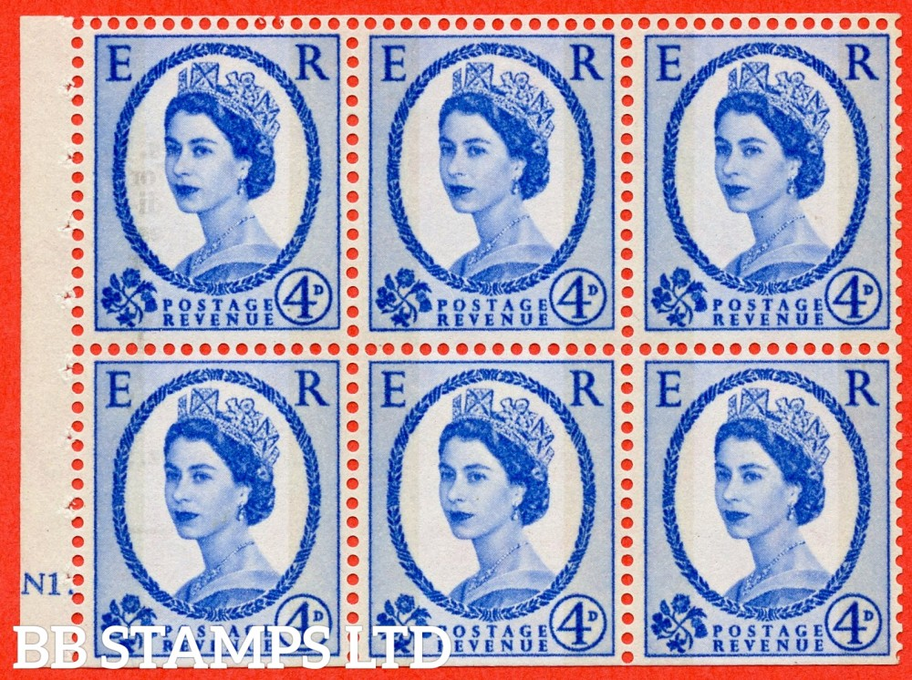"SG. 616a. SB111. 4d Deep Ultramarine. A fine UNMOUNTED MINT cylinder "" N1 dot "" booklet pane of 6. Perf type (Ieb) with TRIMMED PERFS. Smooth edge."