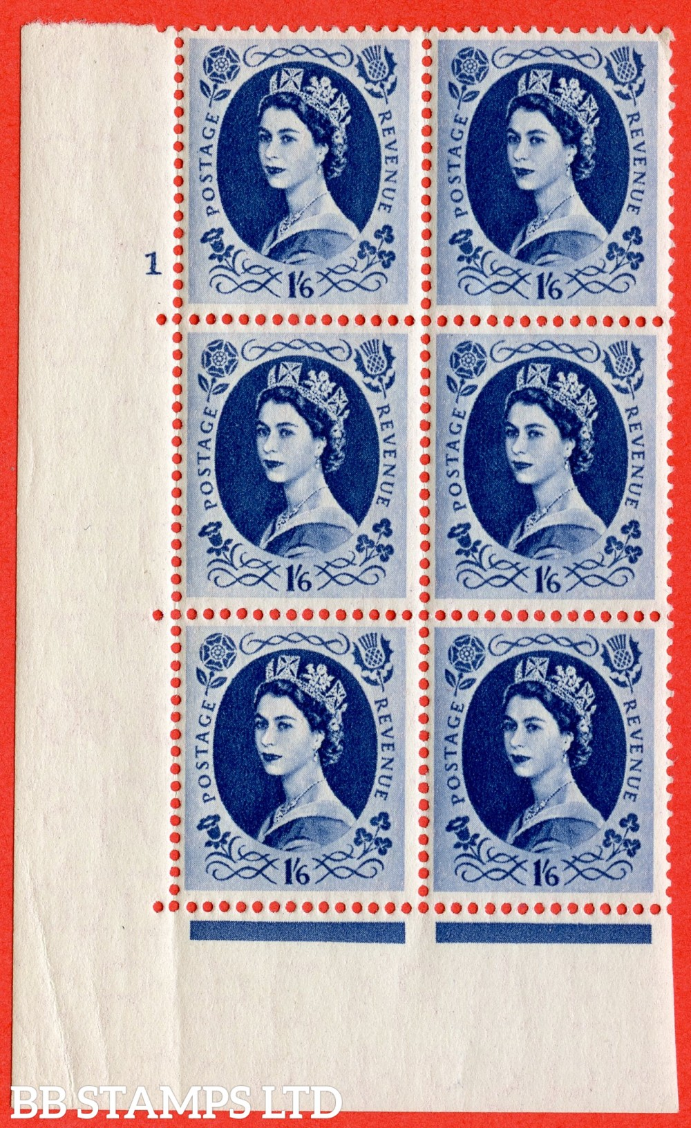 "SG. 556. S151. 1s 6d Grey - Blue. A superb UNMOUNTED MINT "" cylinder 1 dot "" control block of 6 with perf type A E/I."