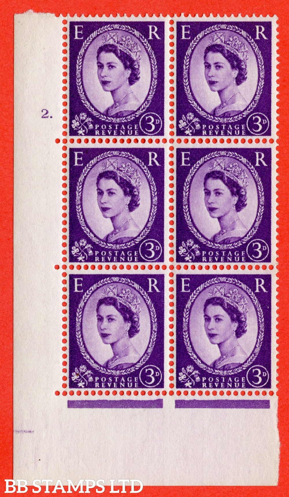 "SG. 545. S68. 3d. Deep - Lilac. A superb UNMOUNTED MINT "" cylinder 2 dot "" control block of 6 with perf type A E/I."