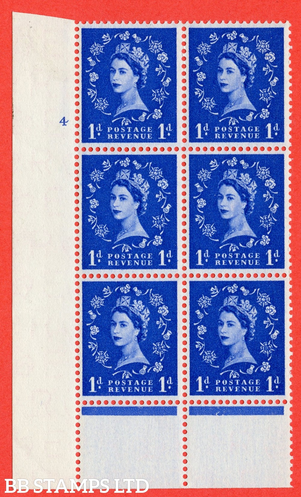 "SG. 541. S14. 1d. Ultramarine. A fine lightly mounted mint "" cylinder 4 no dot "" control block of 6 with perf type B I/P"