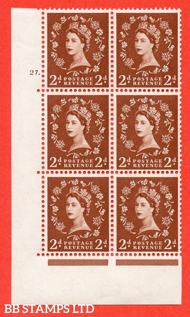 "SG. 573. S40. 2d light red brown . A superb UNMOUNTED MINT "" cylinder 27 dot "" control block of 6 with perf type A E/I. CREAM paper."