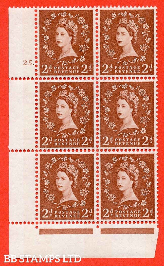 "SG.613a. S49. 2d Light Red Brown. A superb UNMOUNTED MINT "" cylinder 25 dot "" control block of 6 with perf type Fl (P/E). violet Phosphor 9½mm Band."