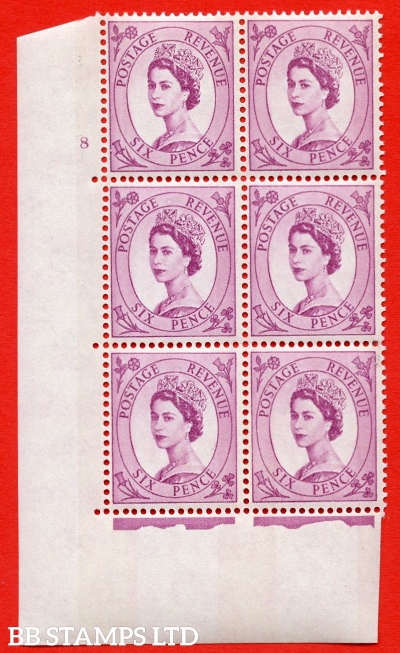 "SG.617. S111. 6d Deep Claret. Photo.  A superb UNMOUNTED MINT "" cylinder 8 no dot "" control block of 6 with perf type A (E/I). Blue Phosphor White paper."