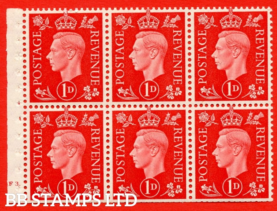 SG. QB10 Perf Type B4A(I) 1d Scarlet x 6 Pane, UNMOUNTED MINT Watermark Upright. Cylinder Pane F3 dot ( SG. 463b ) Perf Type B4A(I). Trimmed Perfs.