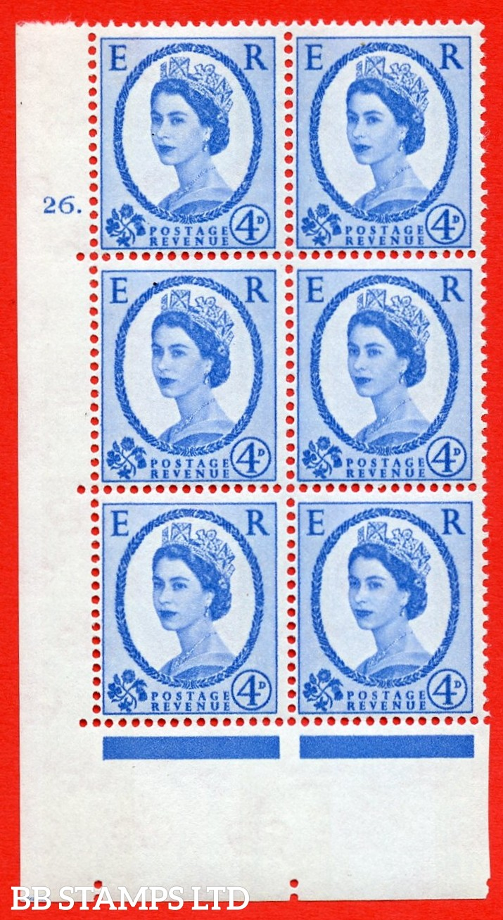 "SG.616a. S92. 4d Deep Ultramarine. A superb UNMOUNTED MINT "" cylinder 26 dot "" control block of 6 with perf type A (E/I). violet Phosphor 9½mm Band."