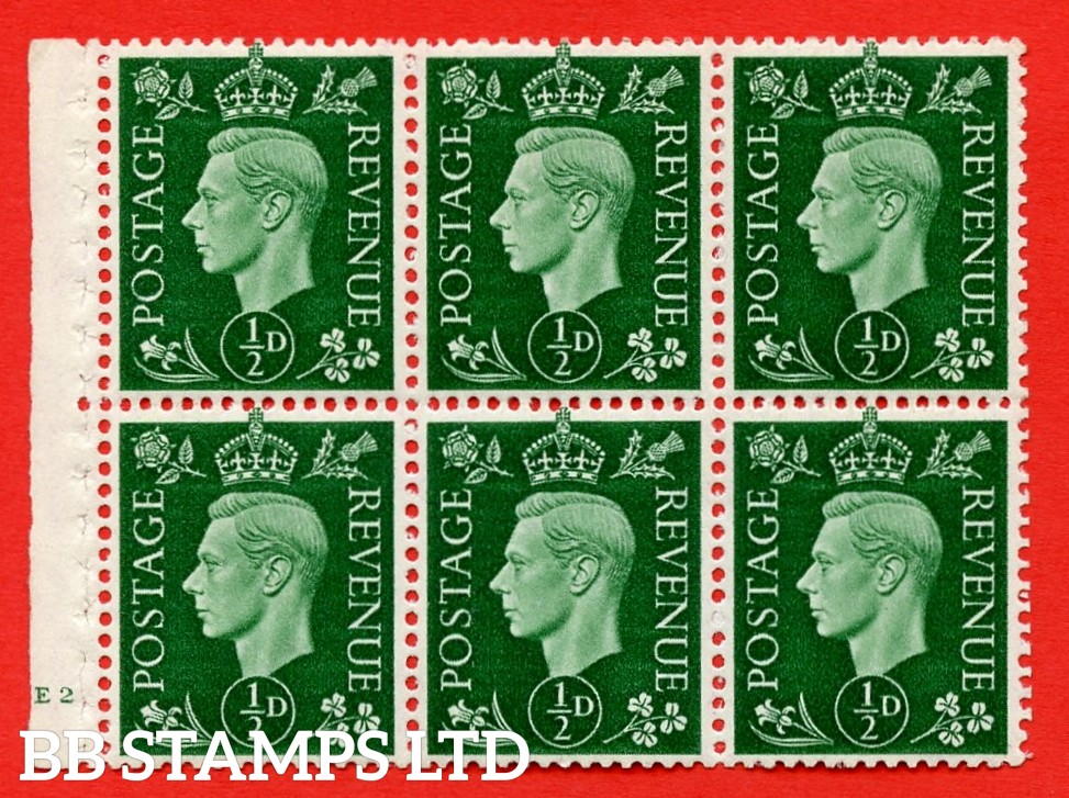 SG. QB1 Perf Type B4(E). ½d Green x 6 Pane, MOUNTED MINT Watermark Upright. Cylinder Pane E2 no dot ( SG. 462b ) Perf Type B4(E). Good Perfs.