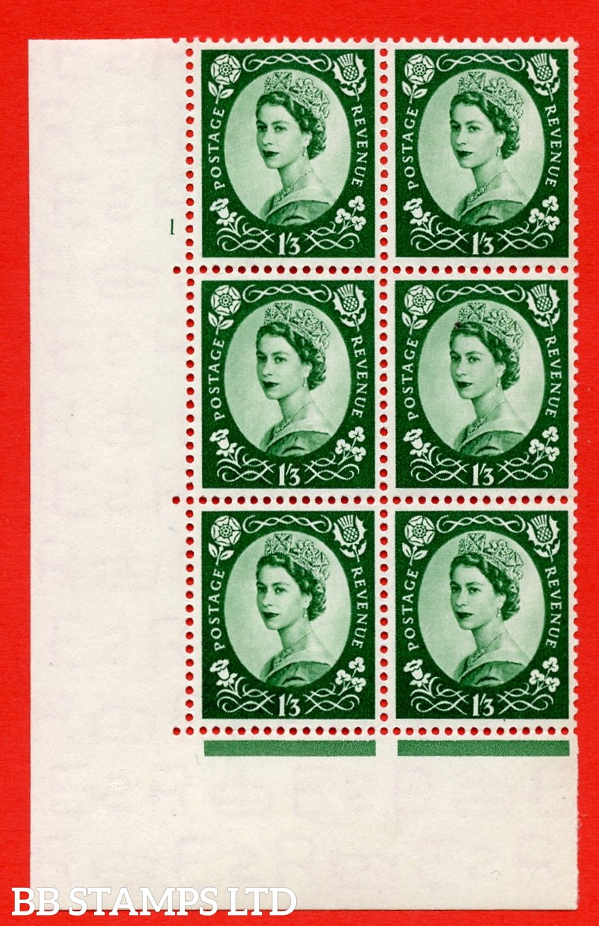 "SG. 530. S141. 1s.3d. Green. A superb UNMOUNTED MINT "" cylinder 1 dot "" control block of 6 with perf type A E/I."