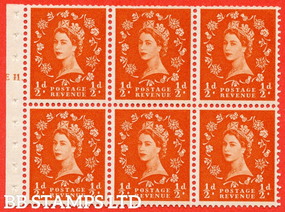 "SG. 570. SB7. ½d orange - red. A fine UNMOUNTED MINT cylinder "" E11 T dot "" booklet pane of 6. Perf type (Ieb) with TRIMMED PERFS. Smooth edge. Cream paper."