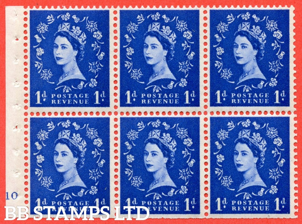 "SG. 611. SB49. 1d Ultramarine. A fine UNMOUNTED MINT cylinder "" F10 no dot "" booklet pane of 6. Perf type (I) with TRIMMED PERFS. Smooth edge. White Paper."