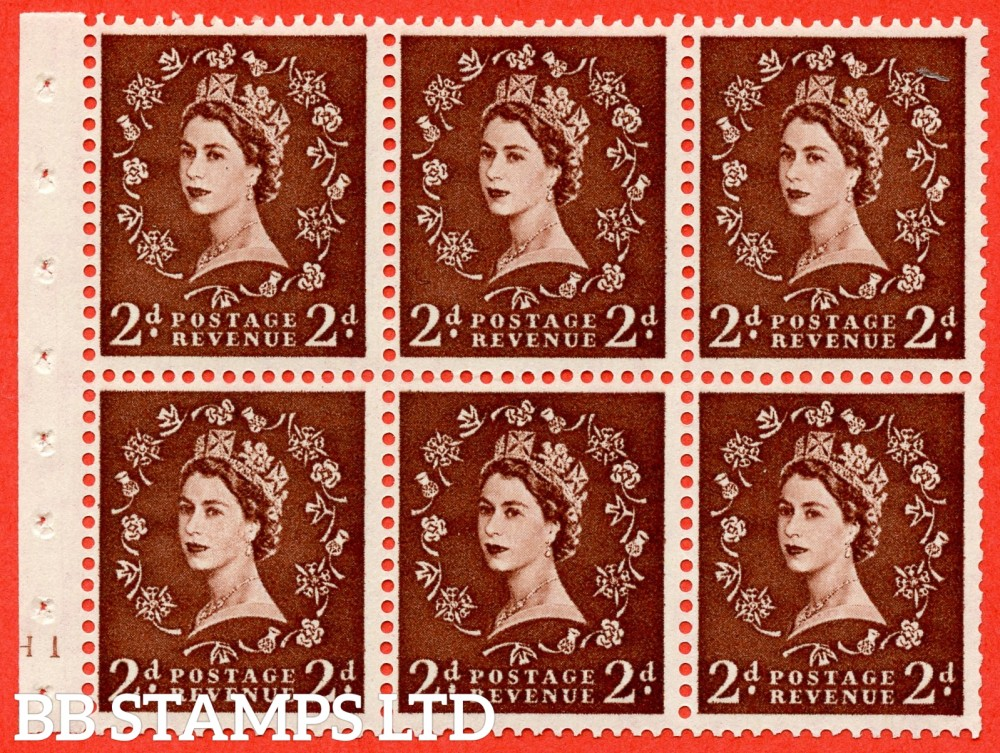 "SG. 543. SB77. 2d red - brown. A fine UNMOUNTED MINT cylinder "" H10 no dot "" booklet pane of 6. Perf type (I) with GOOD PERFS. Smooth edge."