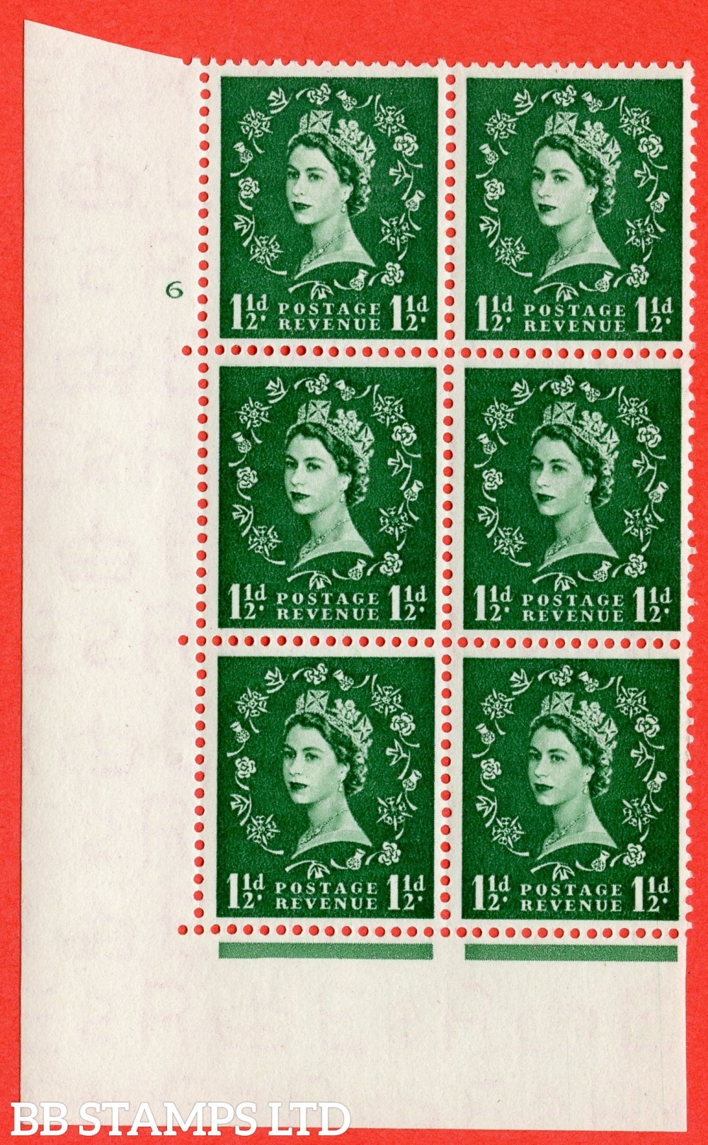 "SG. 517. S25. 1½d Green. A superb UNMOUNTED MINT "" cylinder 6 no dot "" control block of 6 with perf type A E/I."