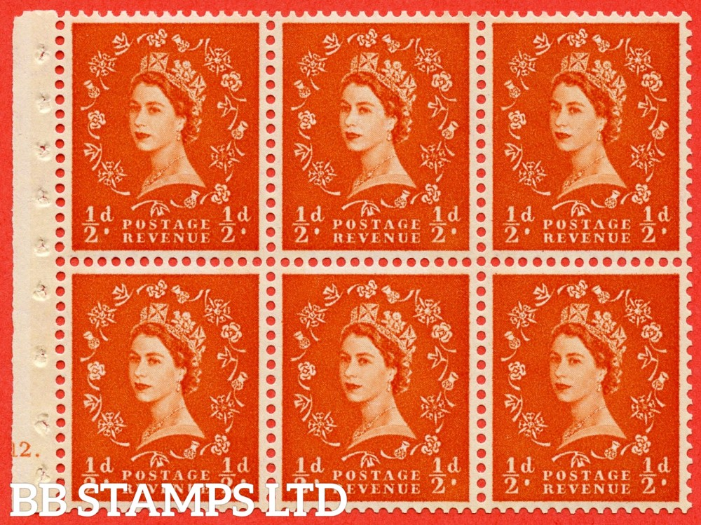 "SG. 610. SB16. ½d Orange Red. A fine UNMOUNTED MINT cylinder "" E12 dot "" booklet pane of 6. Perf type (Iet) with GOOD PERFS. Rough edge. Cream Paper."