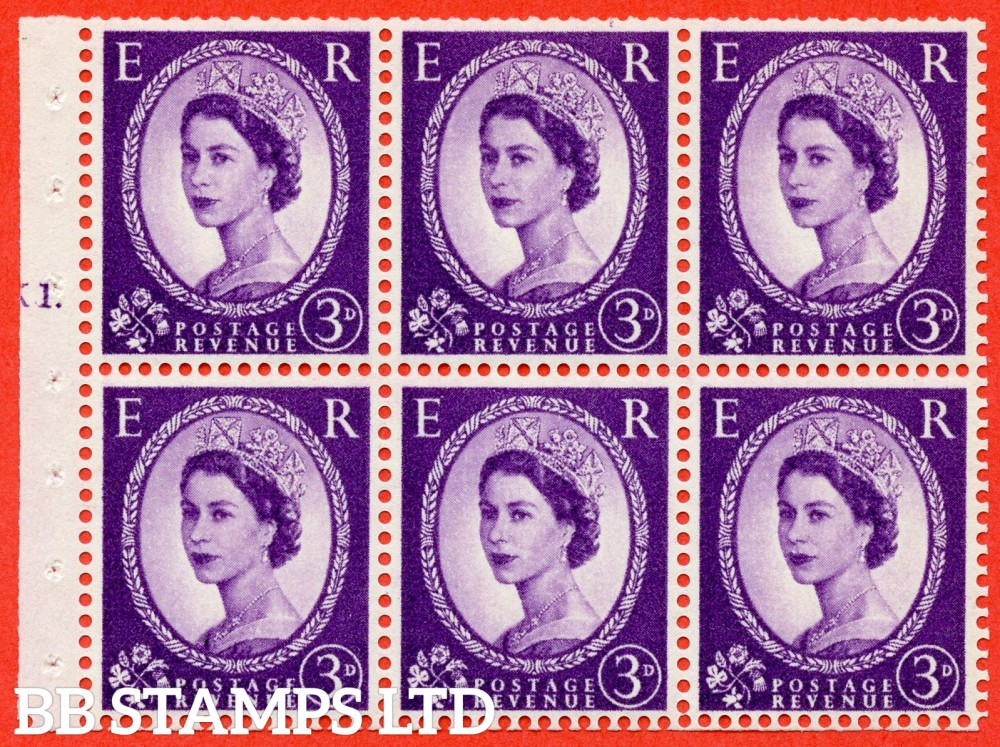 "SG. 545. SB90. 3d Deep Lilac. A fine mounted mint cylinder "" K1 T dot "" booklet pane of 6. Perf type (Ieb) with TRIMMED PERFS. Smooth edge."