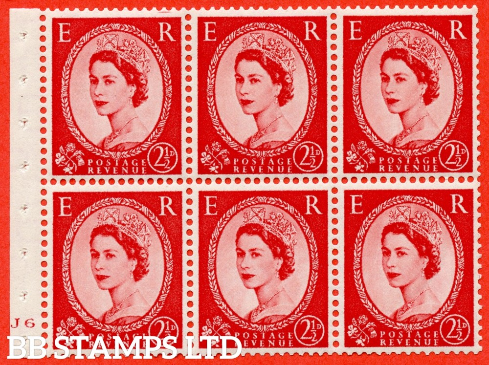"SG. 544b. SB81. 2½d carmine - red. A fine mounted mint "" J6 no dot "" booklet pane of 6. Perf type (I) with TRIMMED PERFS. Smooth edge."