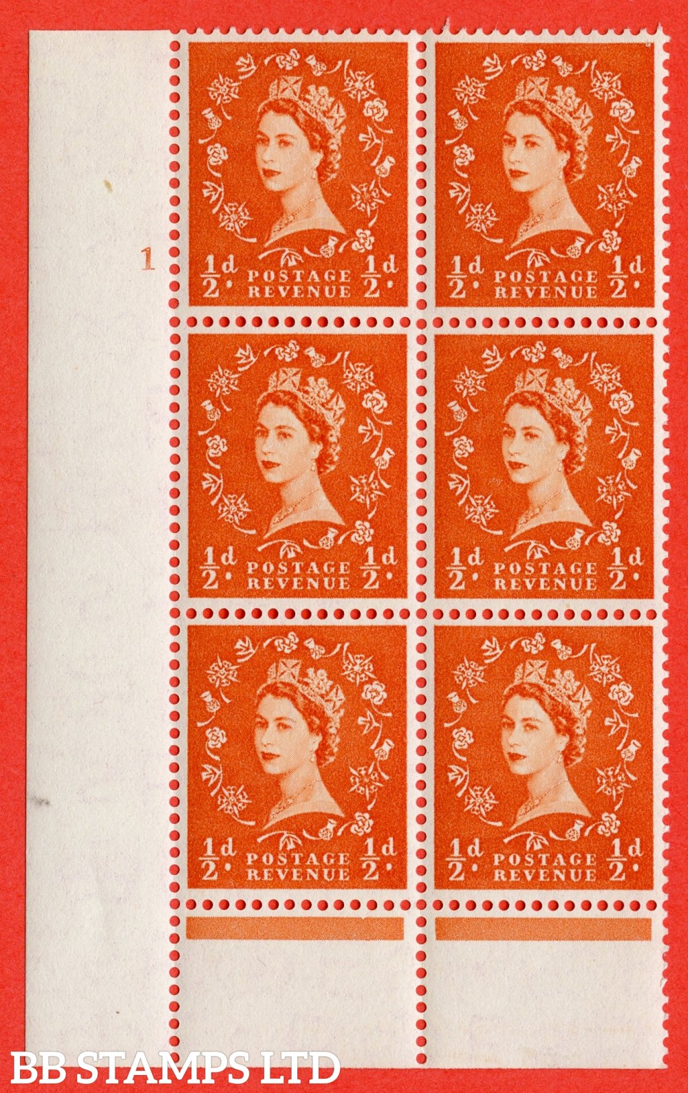"SG. 540. S2. ½d. Orange-red. A superb UNMOUNTED MINT "" cylinder 1 no dot "" control block of 6 with perf type B I/P."