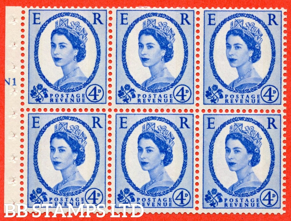 "SG. 616a. SB111. 4d Deep Ultramarine. A fine mounted mint cylinder "" N1 T No dot "" booklet pane of 6. Perf type (I) with TRIMMED PERFS. Smooth edge."