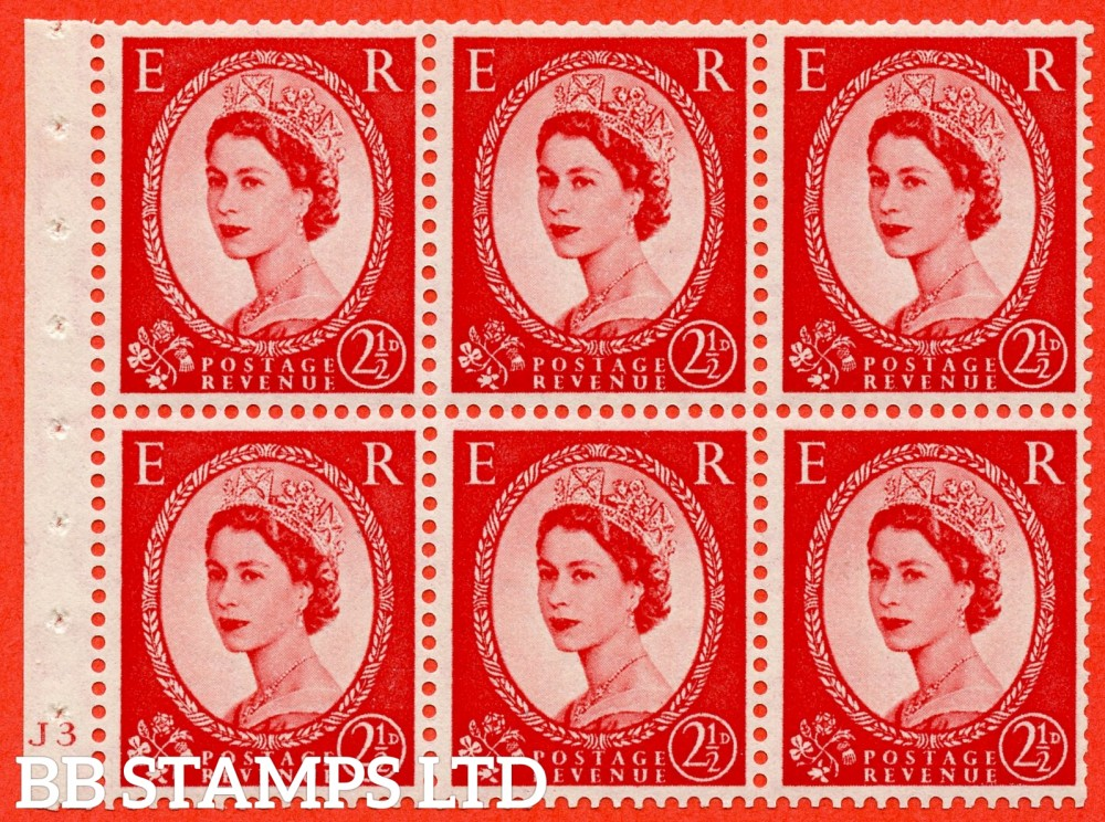 "SG. 519 b. SB80. 2½d carmine - red. A fine UNMOUNTED MINT cylinder "" J3 no dot "" booklet pane of 6. Perf type (I) with GOOD PERFS. Smooth edge."