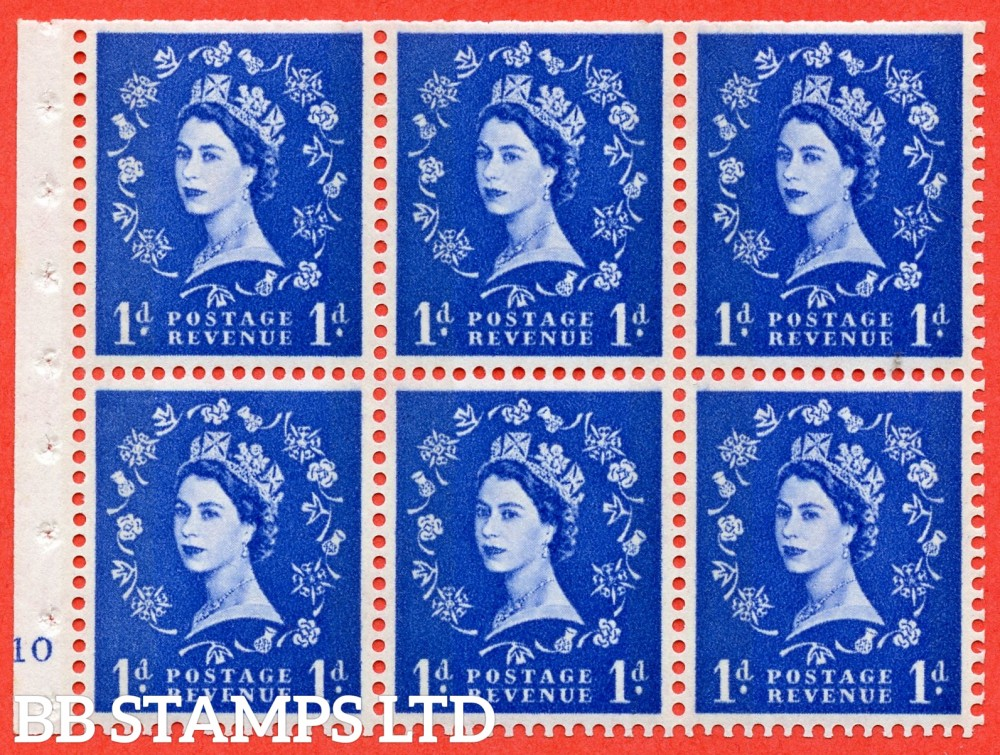 "SG. 611. SB42. 1d Ultramarine. A fine UNMOUNTED MINT cylinder "" F10 no dot "" booklet pane of 6. Perf type (I) with TRIMMED PERFS. Smooth edge. White Paper."